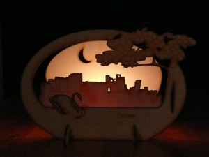 Caerphilly Castle candle holder