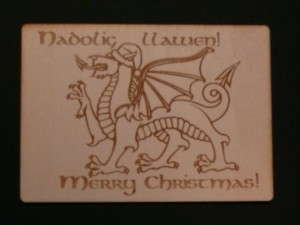 Merry Christmas dragon postcard