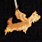 Wooden Winged Yorkshire Terrier ornament
