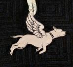 Acrylic winged Bull Breed ornament