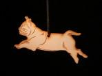 Wooden Pug ornament