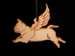 Wooden Winged Pug ornament