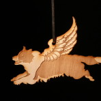 Wooden Winged Border Collie ornament