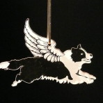 Acrylic Winged Border Collie ornament