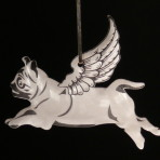 Acrylic Winged Pug ornament