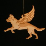 Wooden Winged German Shepherd / Alsatian ornament