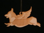 Wooden Winged Corgi Ornament