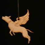Wooden Winged Bull Breed ornament