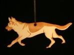 Wooden German Shepherd / Alsatian ornament