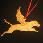 Wooden Winged Labrador Retriever ornament
