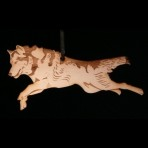 Wooden wolf ornament