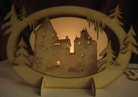 Wooden candle holder featuring Castell Coch