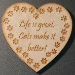 'Life is great, Cats make it better' Heart Fridge Magnet