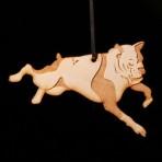 Wooden Bulldog ornament