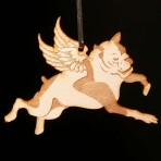 Wooden Winged Bulldog ornament