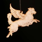 Wooden Winged Golden Retriever ornament